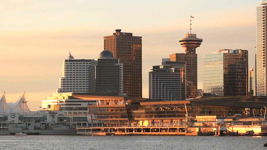 Vancouver Convention Center Morning. Morning sun lights up the new, Vancouver Convention Center in Coal Harbor Vancouver, British Columbia, Canada.