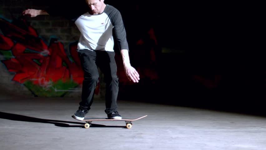 Skater doing backside 360 trick in slow motion - HD stock video clip