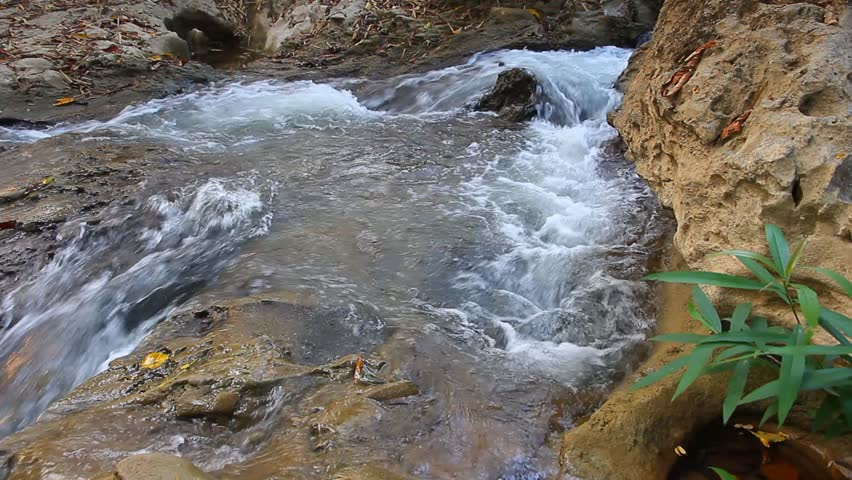 Waterfall with stream flowing cool in summer.(2 clips.) - HD stock video clip