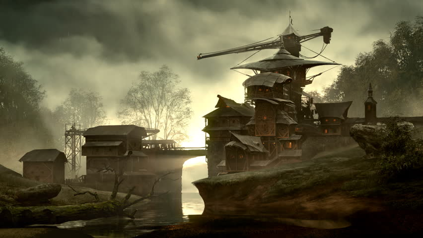 Fantasy building over flowing creek in matte painting style. Usually used in vfx and gameart. - HD stock footage clip