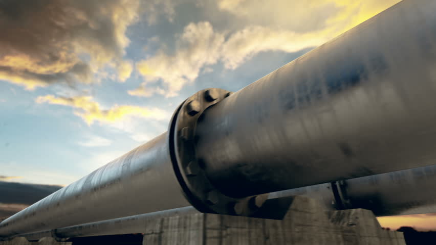 Pipeline transportation is most common way of transporting goods such as Oil, natural gas or water on long distances. Camera is slowly moving along the pipeline. Animation is loopable. | Shutterstock HD Video #3634487