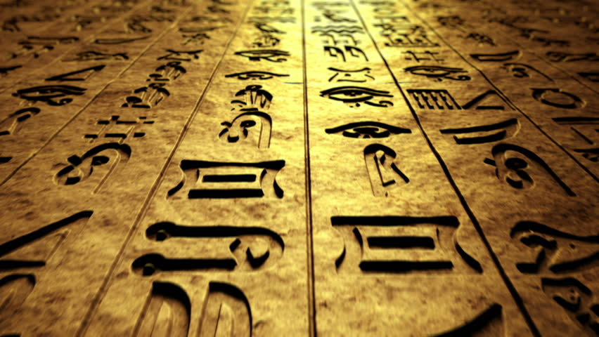 CG footage that presents ancient writings, hieroglyphs on rock wall. Loopable. - HD stock footage clip