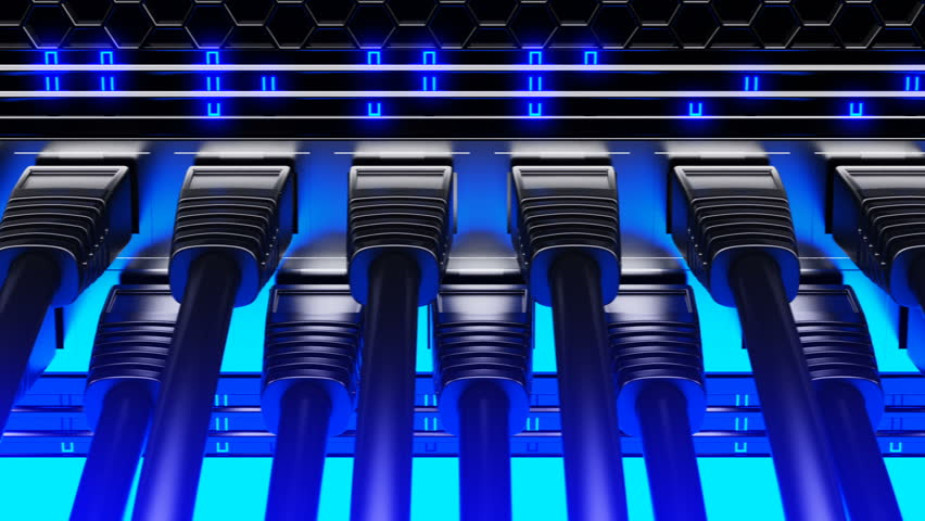 Modern Network Switch With Cables Stock Footage Video