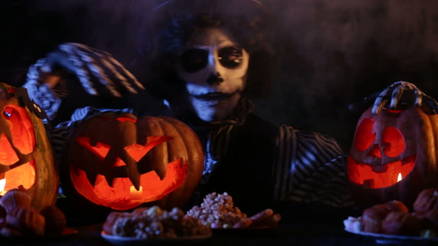 jack appears from the smoke and checks his pumpkins hd stock footage clip - Pictures That Say Happy Halloween