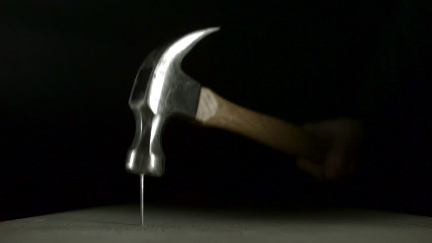 Hammering nail on wood panel shooting with high speed camera, phantom flex. - HD stock footage clip