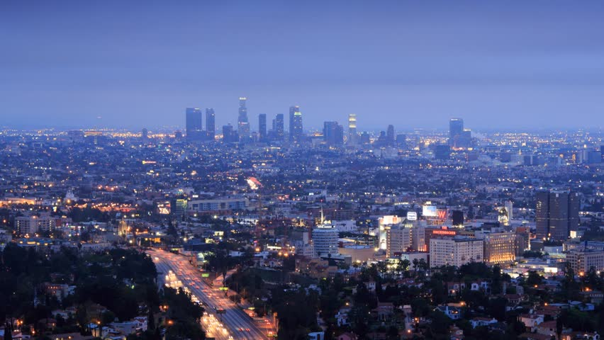 Los Angeles city timelapse. Transition from dusk to night. View from Hollywood Hills on freeway 101, zoom-in on downtown LA. | Shutterstock HD Video #3676166