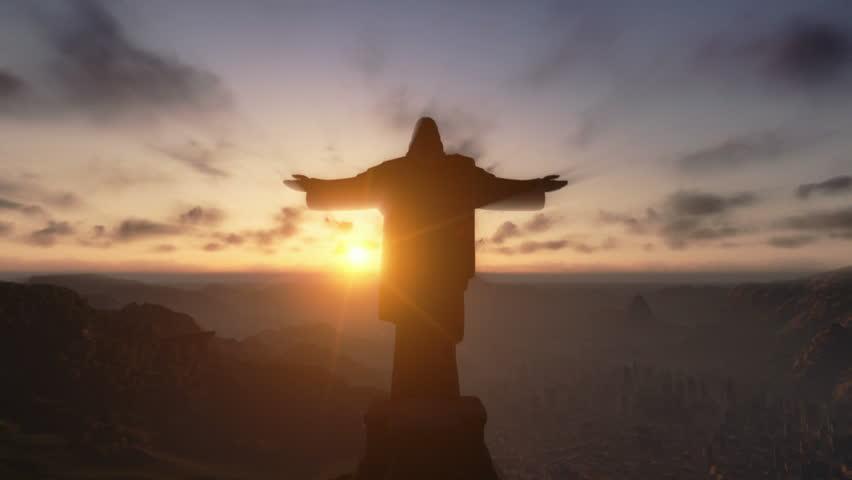 Christ the Redemeer at Sunset, Rio de Janeiro, close up
