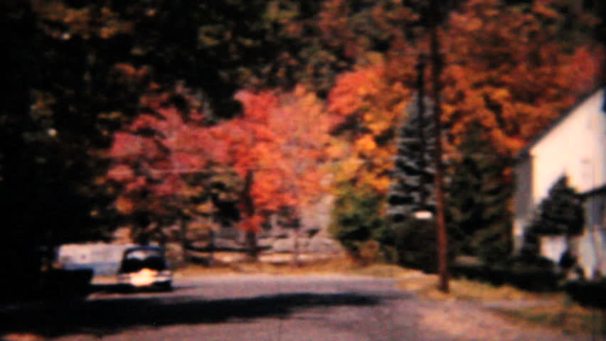 MOUNT VERNON, IOWA, 1960: Random scenes of Americana suburbia in the fall including the back of a Ford Edsel in 1958. - HD stock footage clip