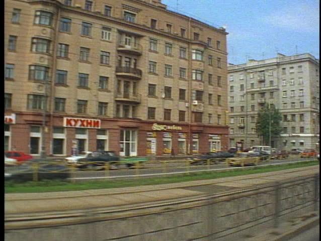 St. Petersburg, Russia, POV tram, buildings traffic pass