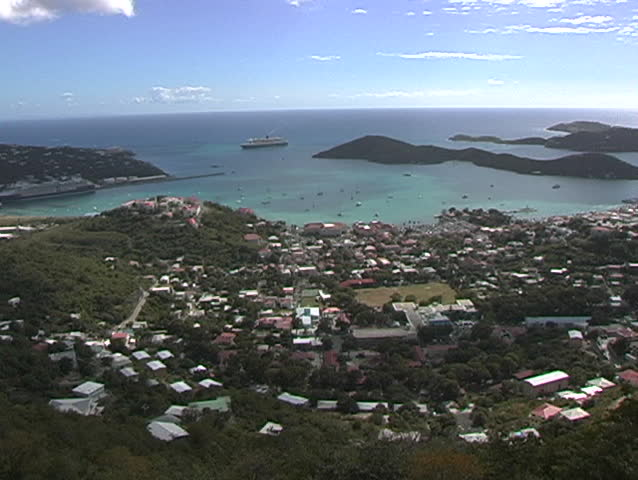 St. Thomas, The Virgin Islands, high view out of city and harbor - SD stock footage clip