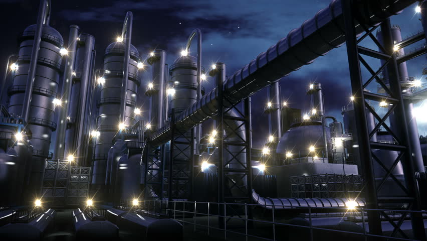 Chemical Plant at night - HD stock footage clip