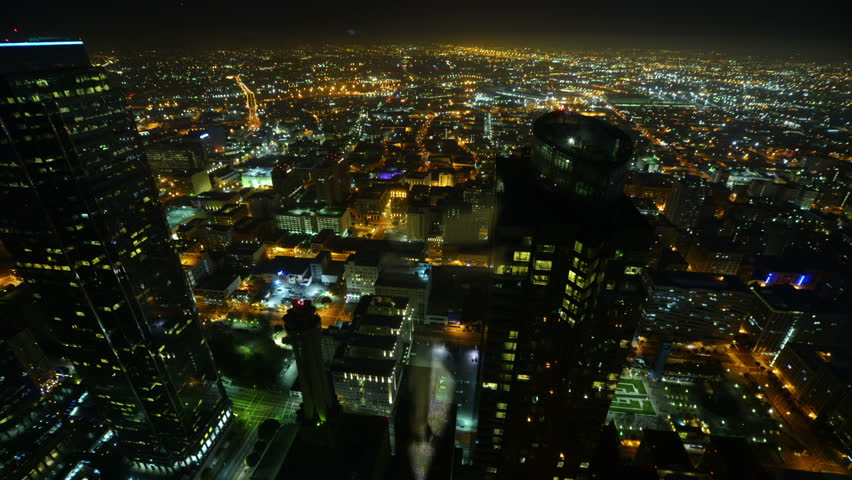 Night Cityscape Timelapse 93 Los Angeles Downtown Traffic Tilt Down - HD stock footage clip
