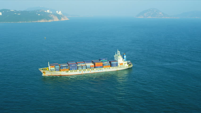 Aerial view of ocean Container ship of Hong Kong Island, South China Sea,  | Shutterstock HD Video #3738851