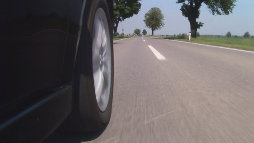 car driving along the guide line - HD stock video clip
