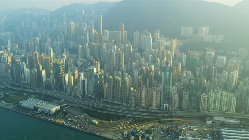Aerial view Hong Kong central Victoria Peak and waterfront, China, Asia, RED EPIC | Shutterstock HD Video #3741110
