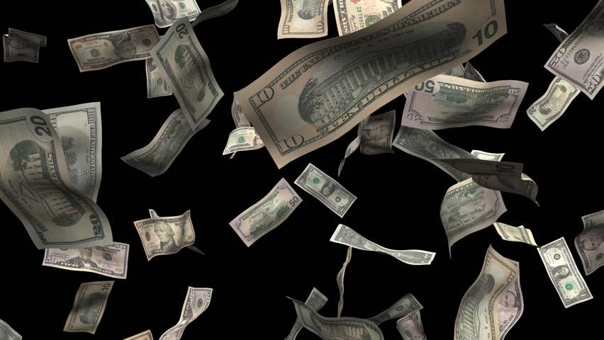 Assorted bills burst of money. Money animation made with 1, 5, 10, 20, 50, 100 dollar bills. includes alpha matte.