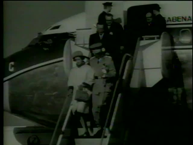 King Baudouin and Queen Fabiola of Belgium are greeted by Emperor Hirohito and Crown Prince Akihito at the airport, Tokyo circa 1964-MGM PICTURES, UNIVERSAL-INTERNATIONAL NEWSREEL,USA, filmed in 1964 - SD stock footage clip