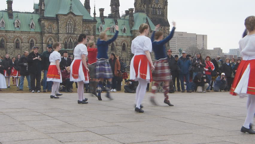 OTTAWA, CANADA 7 April 2013: Canadians celebrate their Scottish heritage at the 20th Anniversary of Tartan Day In Canada, highland dancers and pipe bands entertained crowds on Parliament Hill, Ottawa - HD stock footage clip