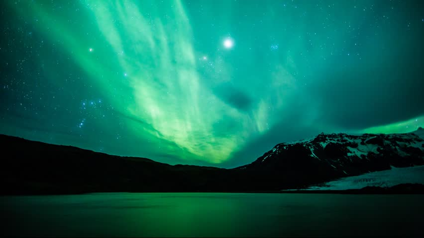 Northern Lights (Aurora borealis) reflected on a lake timelapse in Iceland - HD stock footage clip