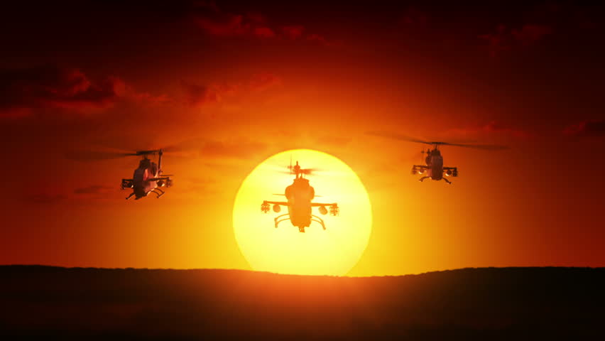 Military helicopters at sunrise