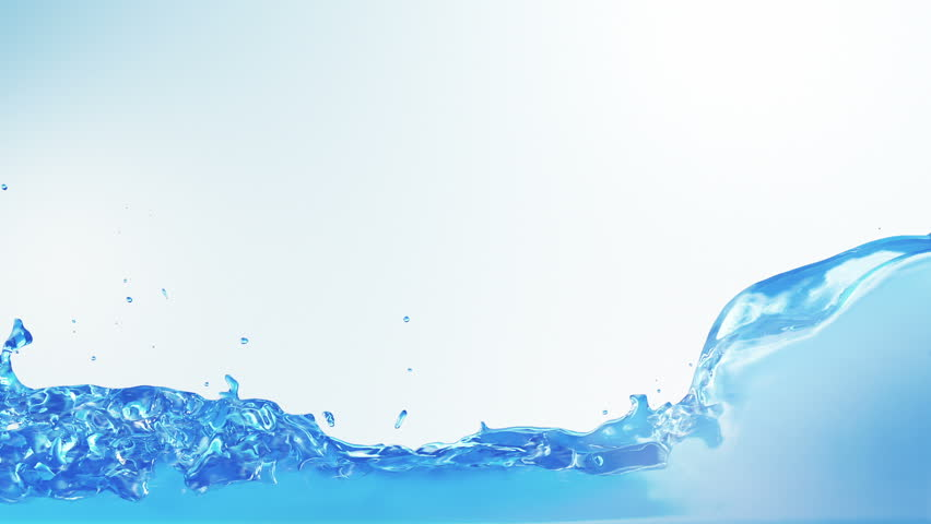 Water splashes filling the frame. Alpha matte included. Blue background. SEE MORE OPTIONS IN MY PORTFOLIO.