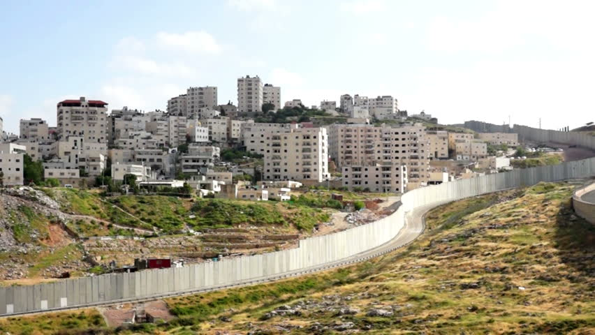 Israeli West Bank barrier- east Jerusalem separation wall - HD stock video clip