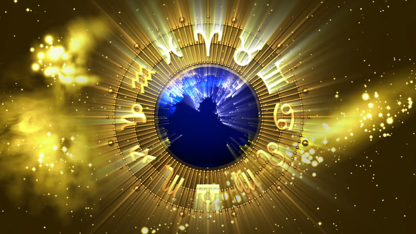 Golden Astrology Zodiac Signs and Planet Earth - HD stock video clip