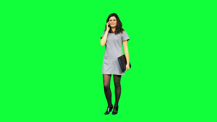 Young female Caucasian business advisor portfolio using smart phone technology with green screen | Shutterstock HD Video #3825962