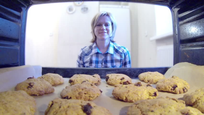 HD - Cookies in the oven - HD stock video clip