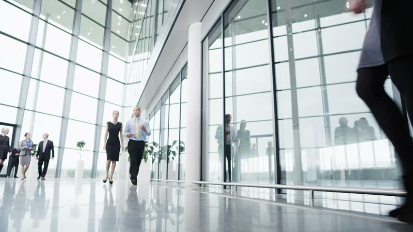 Diverse team of business people chat together as they walk around their light and modern office building.
