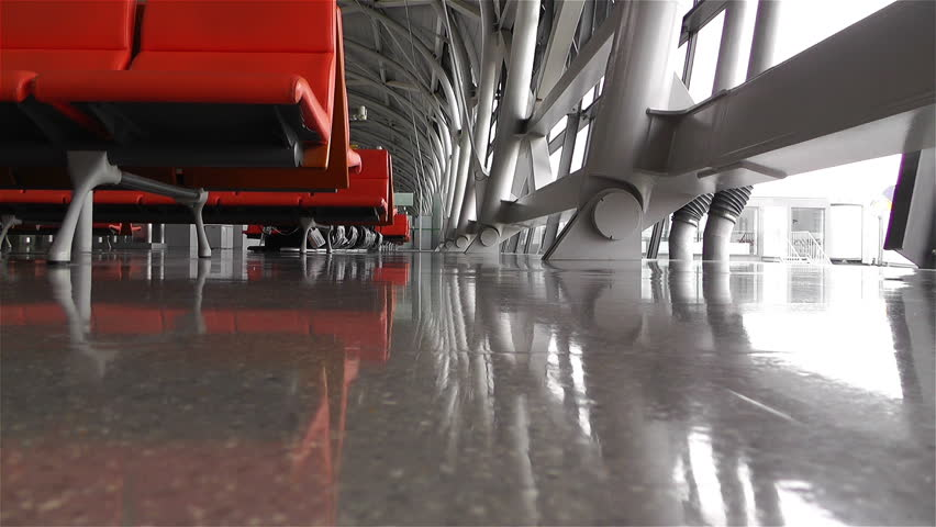 Empty Airport Waiting Hall  - HD stock video clip