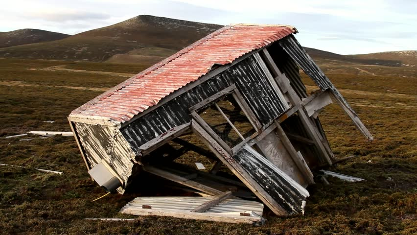 Old collapsed hut, Falkland Island