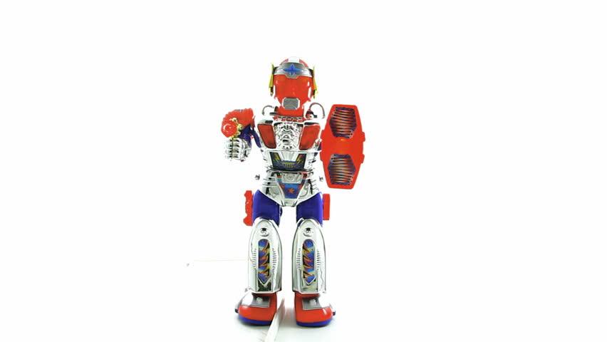 retro robot toy march forward