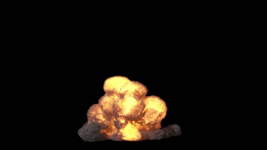 Highly realistic fire explosions with smoke and alpha matte to compose. 2 in 1. Frontal view.