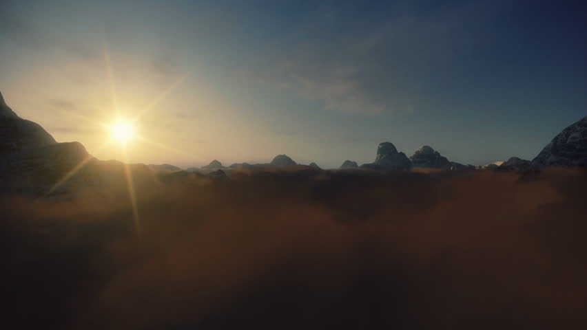 Flight above Mountain Peaks, Sunset Time Lapse Clouds
