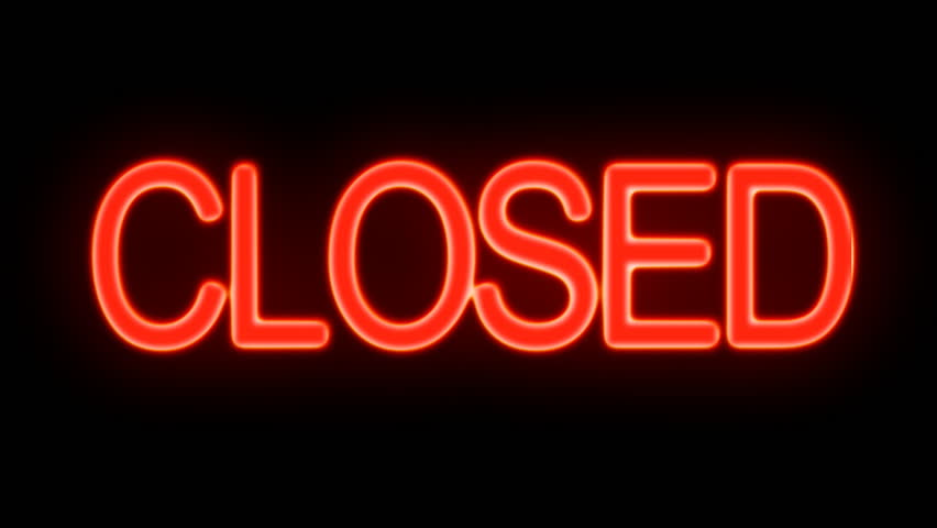 Closed and Open Flickering Neon Sign