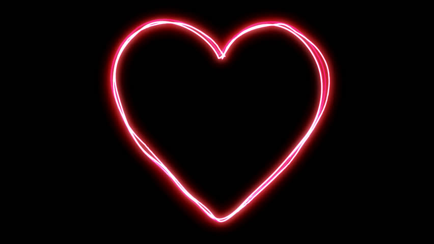 Glowing Energetic Heart Shape Sequence with Matte - HD stock video clip