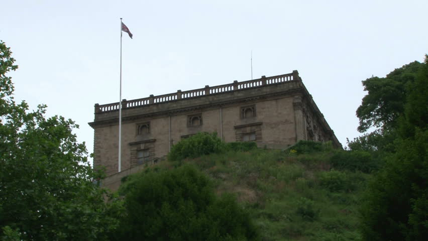 The modern incarnation of the historic Nottingham Castle. - HD stock footage clip