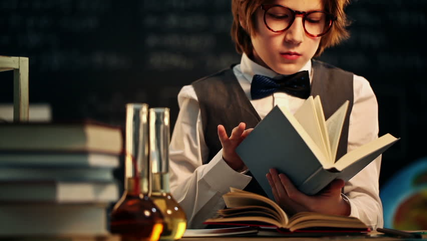 Old fashioned boy learning - HD stock video clip