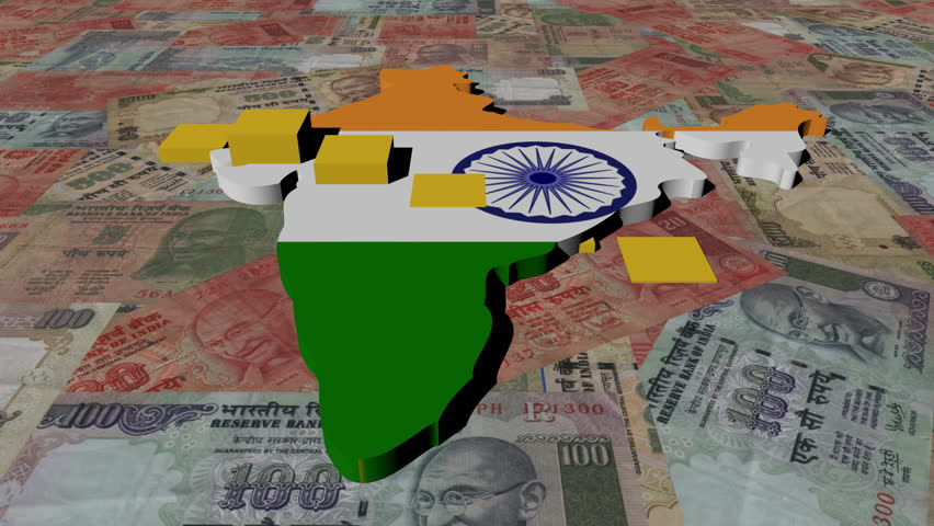 India map flag with graph on Rupees animation - HD stock video clip
