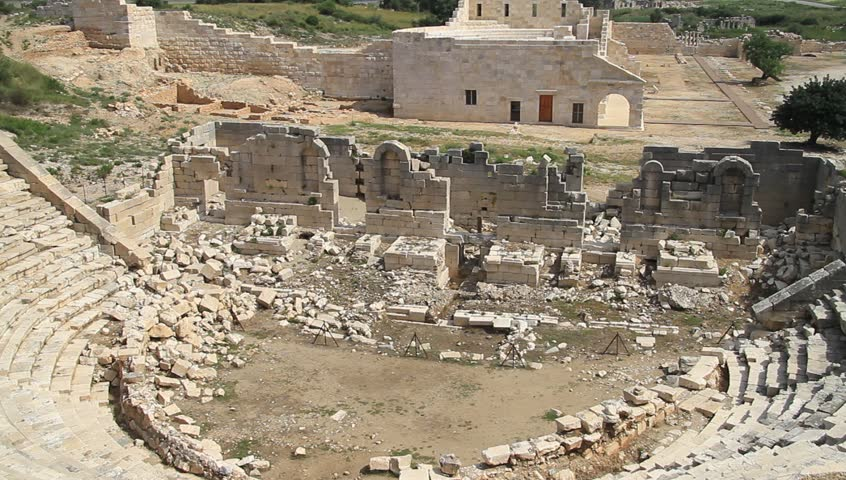Ruins Of Ancient Theater In Patara, Turkey Stock Footage ...