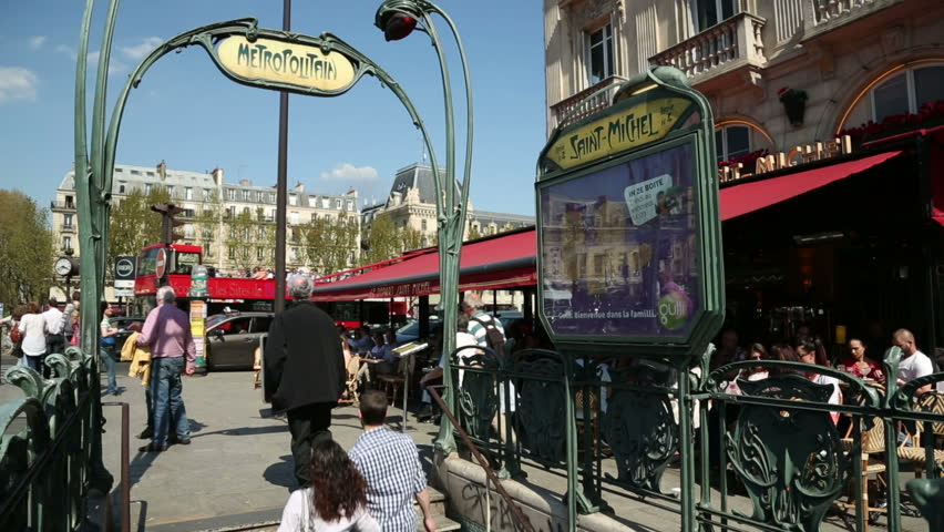 paris april 26 unidentified people walking past saint michel metro station place st michel. Black Bedroom Furniture Sets. Home Design Ideas