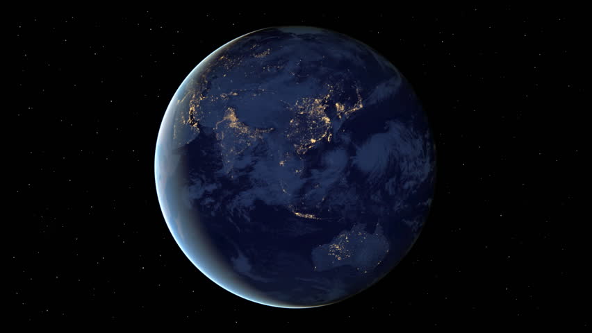Planet Earth rotation at night with space background. Seamless loop. Elements of this image furnished by NASA.