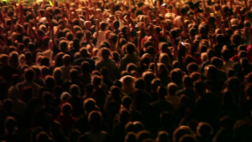 Shot of some cheering fans at a life concert, some visible noise due high ISO, soft focus