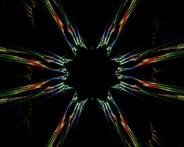 Beautiful 3D animated fractal: rendered multicolor kaleidoscope on black background. - SD stock video clip