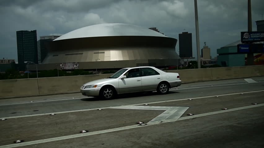 New Orleans, Louisiana -  June, 2011 - Wide driving shot of the Superdome.