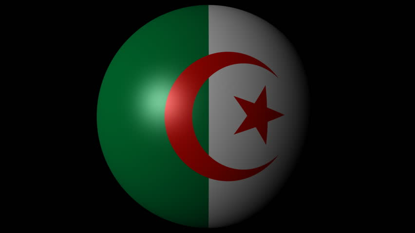 Algeria flag sphere combining and breaking apart animation