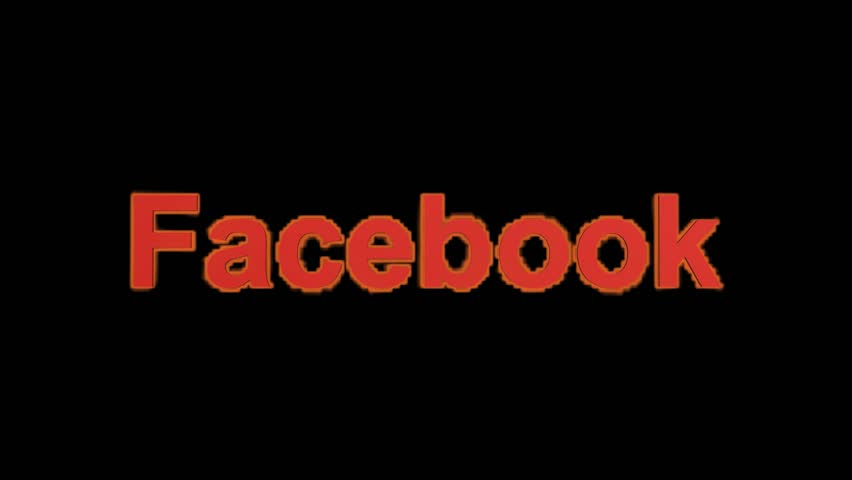 Editorial animation: flame facebook word