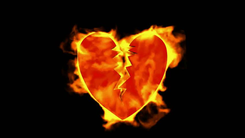 burning broken heart.
