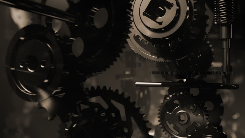 3d background with animated clockwork machinery. Seamless loop. Depth of field.